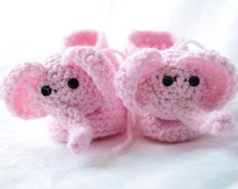 pink baby girl elephant booties