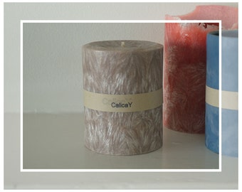 Hand Poured Natural Crystal Wax Pillar Candle - Ambered Sandalwood