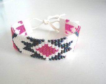 SALE!!! Hand-woven beaded Bracelet by miyuki beads No. 8 finished with faux suede and candle rope.