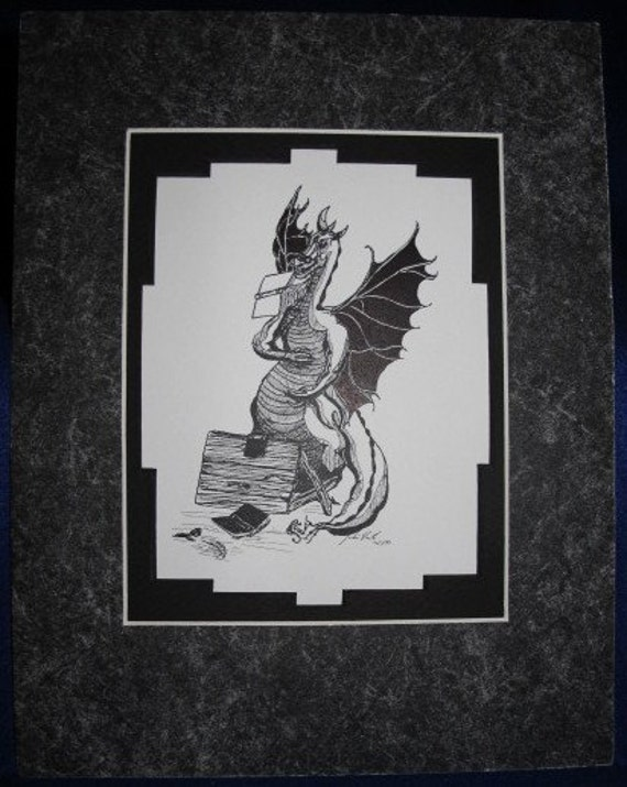 Dragon with Books: Limited pre-matted prints. Framing size 11x13
