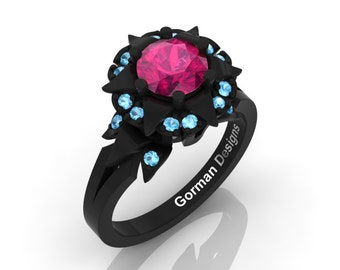 Gorgeous French 14K Black Gold 1.0 Ct Pink Sapphire Blue Topaz Solitaire Engagement Ring G1115-14KBGBTPS