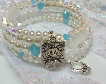 Marriage Bracelet, Bride Bracelet, Wedding Bracelet, Something Blue Wedding Bracelet, Wedding Jewelry, Bridal Jewelry, Bridal Bracelet