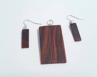 Ripple Effect Rectangle Pendant and Earrings