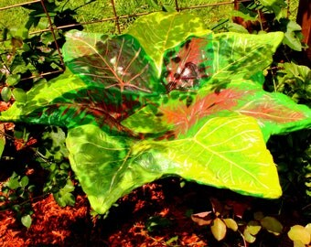 Bird Feeder, Bird Bath. Garden Art Piece, One of a Kind Leaf Casting of mixed Caladiums create a beautiful piece for your home or garden.