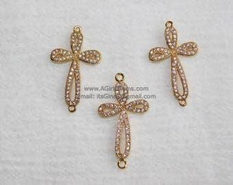 CZ Gold Cubic Zirconia Cross Sideways Link Connector Cross Gold Connector for Link Chain Loop for Bracelet Necklace
