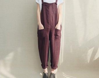 Women Casual Linen Jumpsuits Overalls Pants With Pockets Vintage Linen Harem Pants