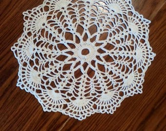 "15"" white crochet doily"