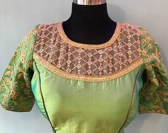 Designer Silk Embroidered sari blouse