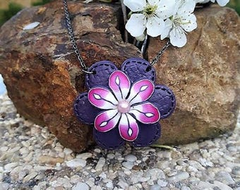 Pink and purple flower polymer clay necklace