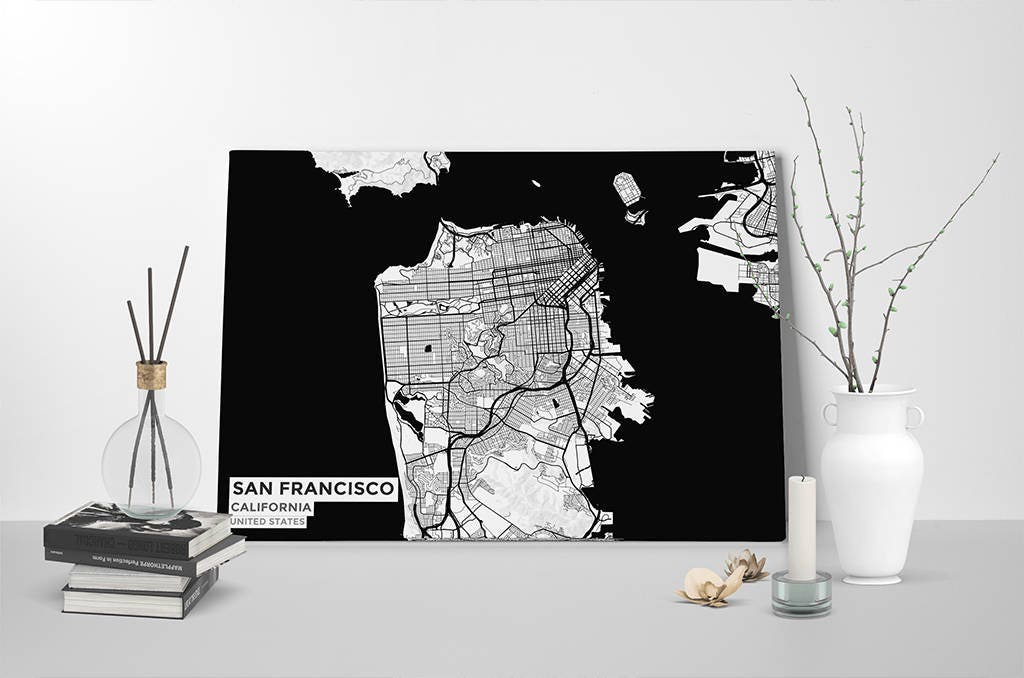 Gallery Wrapped Map Canvas of San Francisco California Subtle