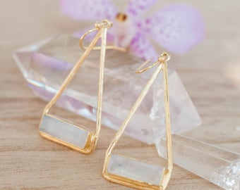 Moonstone Earrings * Gold Plated 14k * Dangle * Gemstone * Natural * Lightweight * Triangulum * Geometric * Gift for her * Bohemian *BJE070A