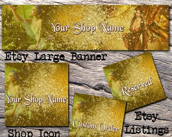 ETSY LARGE COVER Complete Set-Mystical Fantasy Cover Photo-Premade Fantasy Etsy Set-New Age Etsy- Large Cover-Fairy Etsy, Gold Glitter,#108