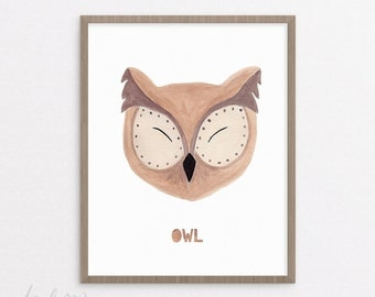 Owl Nursery Print - Owl Print - Nursery Art - Printable - Nursery Owl Art - Kids Owl Art - Baby Gift - Instant Download 8x10