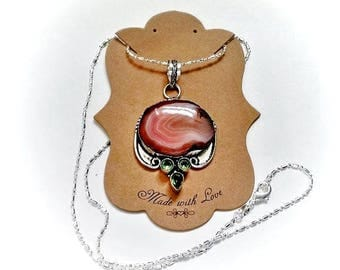 Druzy Peach Agate and Green Amethyst Silver Pendant Necklace