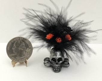 Dollhouse Miniature Haunted Skull Floral Arrangement Black and Orange