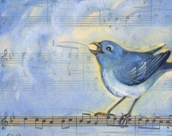 Happy Bluebird, bird painting, vintage music, one of a kind, original oil painting, music art, Bach, Bird Art, Gift for Musician