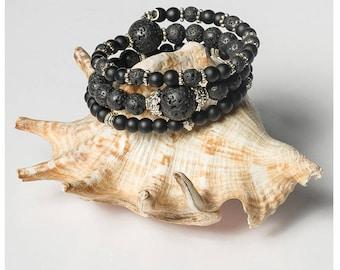 Memory Wire Lava Stone Bracelet, Memory Wire  Boho Handmade Bracelet, Natural Lava and Black Matte Onyx Stones Jewelry, Gemstone Bracelet