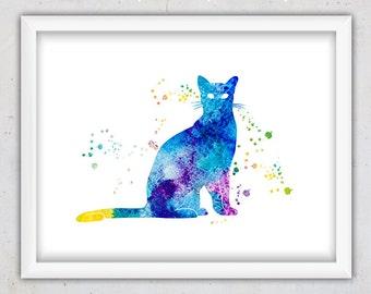 Cat Print, Digital Download Nursery Art Print, Watercolor Print, Printable Nursery Art, Kids Wall Art, Baby Art, Anima Art, Cat Lover Gift