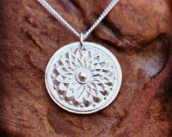 Lotus Flower Chakra Pendant Necklace, Recycled Fine Silver, Handcrafted Pendant, Yoga Chakra Necklace