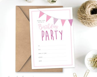 Birthday Invitation Printable - Instant Download - Pink baby boy girl rustic bunting First Birthday DIY Print Yourself - Digital File