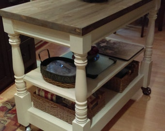 Mobile kitchen island, custom made, all solid wood construction, with metal castors, solid wood top, or optional with no top and DIY top