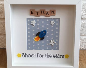 Shoot for the stars, space theme, rockets and stars, boys personalised frame, boys space decor, new baby gift