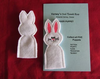 Bunny finger puppet - Embroidered Finger Puppets -  Easter finger puppets - Compliant Finger puppet -  Compliant toy