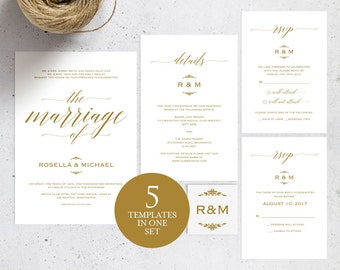 Gold Wedding Invitation Template, Wedding invitation template, Wedding Invite, Kraft wedding Invitation, pdf instant download, WPC_109SD1C