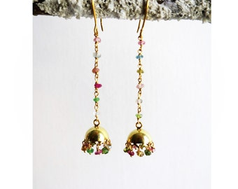 Earrings with Tourmaline semi precious stones