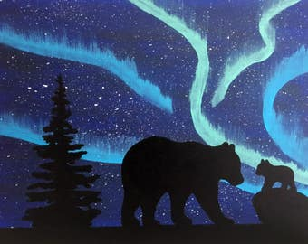 Northern Lights Aurora Borealis Silhouette Bear Painting Handmade on Canvas