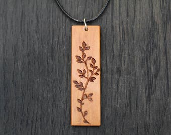 Wood Necklace, Peroba Rosa wooden Necklace, Flower Pendant Necklace, Geometric Bar Necklace Salvaged Necklace Necklace Statement necklace