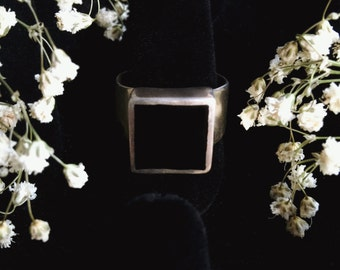 Sterling Silver Blank Onyx Ring Size 7-9