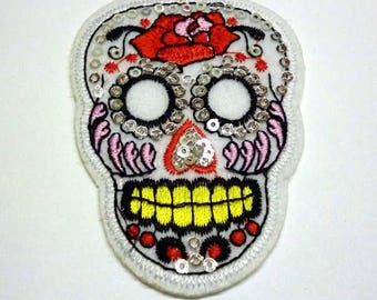 White Sugar Skull with Red Rose Day of the Dead Iron on Patch - H375