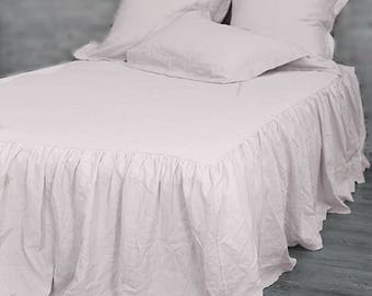 Linen Coverlet.Dust ruffle bed skirt.Linen bedspread. Stone washed Baltic linen.Ruffled coverlet.French style bedding.Linen bedskirt