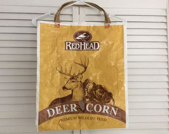 Deer repurposed feed bag  / tote bag