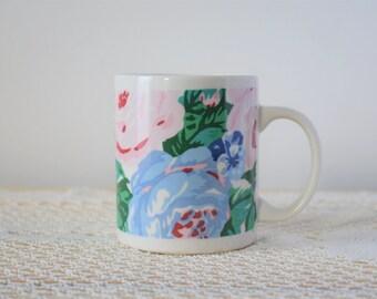 80s-90s Graphic Roses Coffee Mug - Ceramic