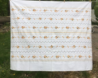 Vintage Orange Stripe Linen Tablecloth {Flowers Metallic} Large Spring  Summer Bright Floral Stripes Table