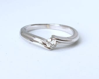 18K White Gold Twist Diamond Solitaire Ring