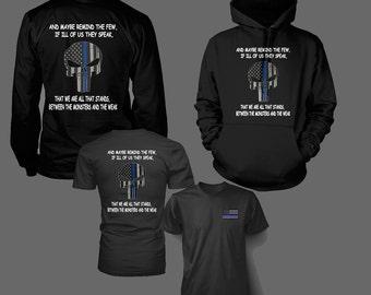 Thin Blue Line T Shirt - Hoodie - Long Sleeved Shirt