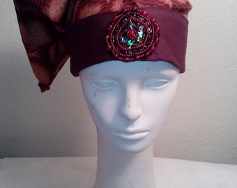 Wizard hat, fire hat, burgundy horn beads
