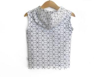 Geometric White Hooded T-Shirt