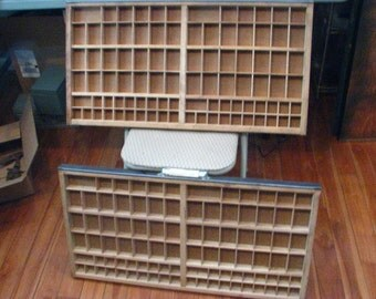 2 Letterpress Drawers, Vintage Printer Drawers