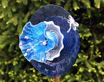 """Recycled Glass Flower Garden Yard Art Sculpture - """"BlueBonnet"""""""