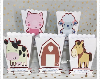 10 Farm & Friends Popcorn Boxes