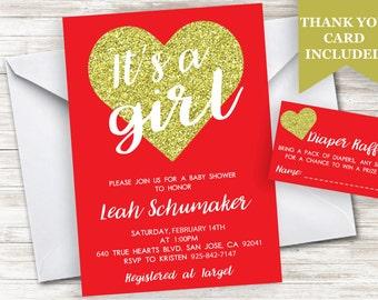 Valentine Baby Shower Invitation Invite Heart Glitter Gold Red 5x7 Digital Personalized