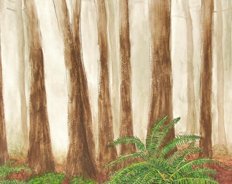 PRINT Oregon  coast  forest   ferns   fog      watercolor painting  matted reproduction ready to frame Ships FREE USA