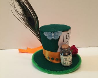 Mad Hatter Alice in wonderland Mini Top Hat Fancy Dress Halloween