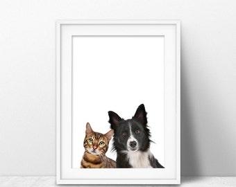 Cat and Dog Print, Nursery Print, Nursery Animal Art, Animal Print, Nursery Wall Art, Nursery Decor, Nursery Printable, Kitten, Puppy poster