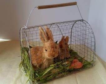 Large Straw and paper Mache' Bunnies and Carrots in A Carry Cage 12 x 8