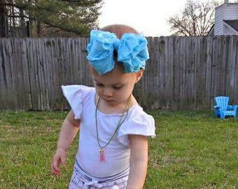 Light Blue Ruffle Headwrap